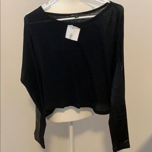 NWT Elizabeth and James Faux Leather Sleeve Top.